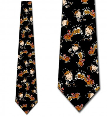 Thanksgiving Turkey and Pilgrim Cheers - Black Necktie