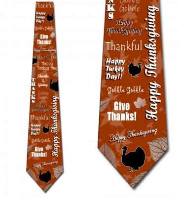 Happy Thanksgiving Collage - Burnt Orange Necktie