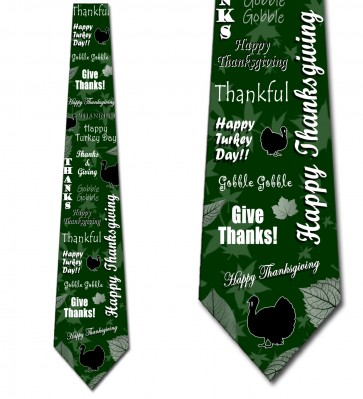 Happy Thanksgiving Collage - Hunter Green Necktie