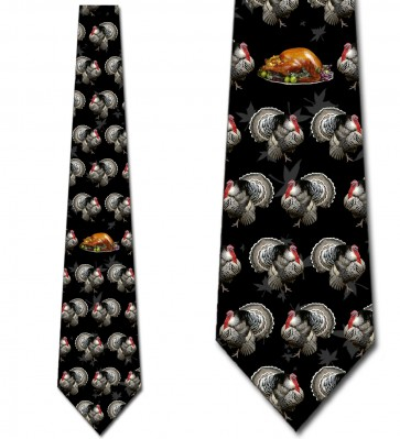 Turkeys and Thanksgiving Dinner - Black Necktie