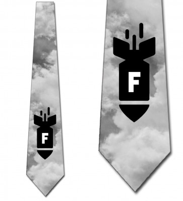 F-Bomb - Black and White Sky Necktie
