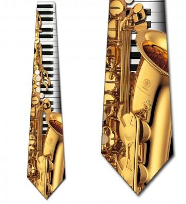Jazz Instruments - Saxophone and Piano Necktie
