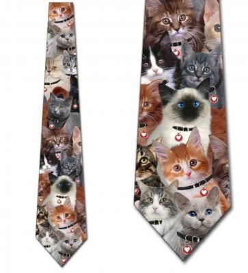 Valentine's Day Cat Collage Necktie