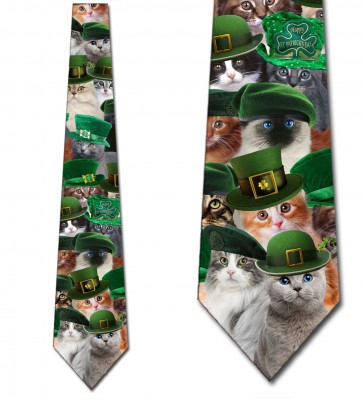 St. Patrick's Day Cats with Hats Necktie