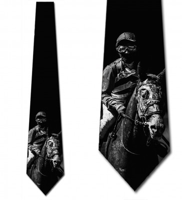 Black and White Jockey and Horse Necktie