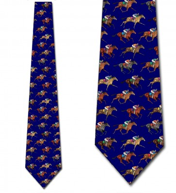 Horse Racing Dark Royal Necktie