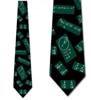 Chalkboard Repeat Green on Black Necktie