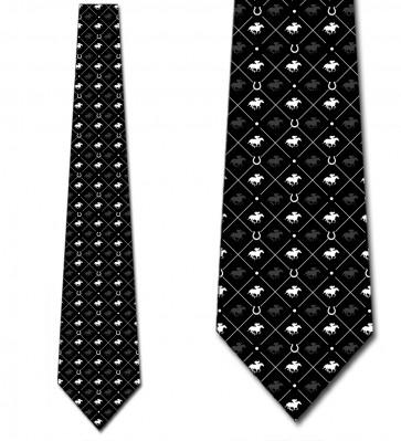 Race Horse White on Black Small Print Necktie