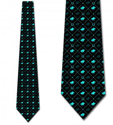 Race Horse Blue on Black Necktie