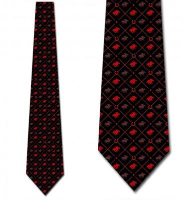 Race Horse Red on Black Necktie