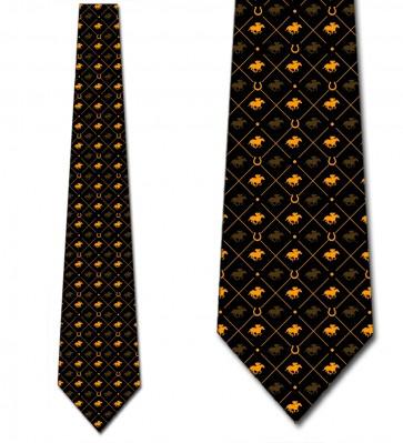 Race Horse Orange on Black Necktie