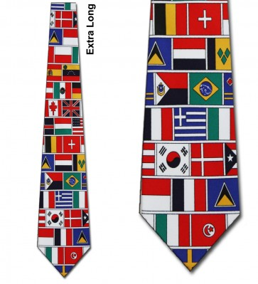 World Flags Allover Extra Long Necktie