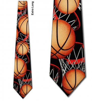 Basketball Zoned Black Extra Long Necktie