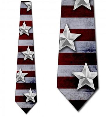 Silver Stars on US Flag Necktie