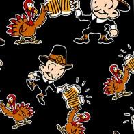 Thanksgiving Turkey and Pilgrim Cheers - Black Necktie