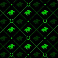 Race Horse Green on Black Necktie