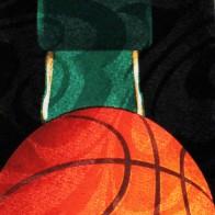 Basketballs and Hoop Black Necktie