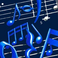 Musical Notes and Staff - Blue on Navy Necktie