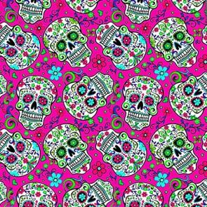Sugar Skull Repeat - Pink