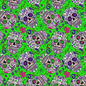 Sugar Skull Repeat - Green Necktie