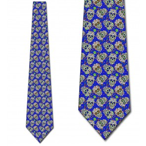 Sugar Skull Repeat - Royal Blue Necktie