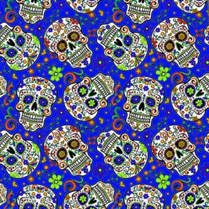 Sugar Skull Repeat - Royal Blue