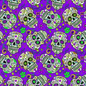 Sugar Skull Repeat - Purple Necktie