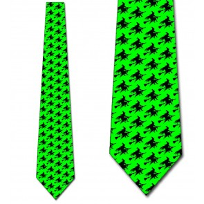 Witch Silhouette Repeat - Neon Green Necktie
