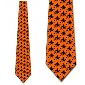 Witch Silhouette Repeat - Orange Necktie