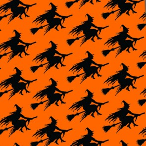Witch Silhouette Repeat - Orange