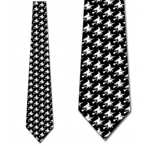 Witch Silhouette Repeat - White on Black Necktie