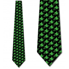 Witch Silhouette Repeat - Neon Green on Black Necktie