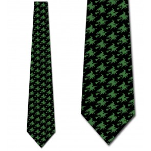 Witch Silhouette Repeat - Green on Black Necktie