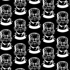 Frankenstein Repeat - White on Black Necktie