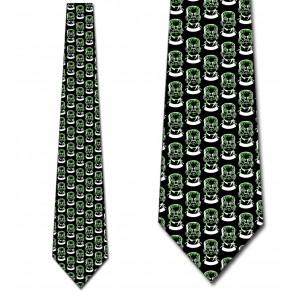 Frankenstein Repeat - Green on Black Necktie