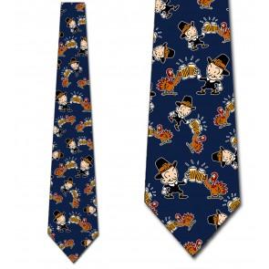 Thanksgiving Pilgrim and Turkey Cheers - Navy Necktie