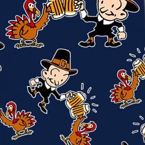 Thanksgiving Pilgrim and Turkey Cheers - Navy