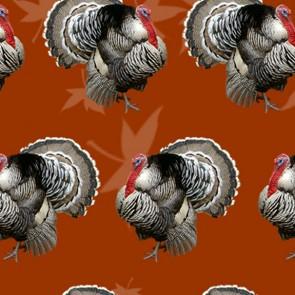 Turkeys and Thanksgiving Dinner - Burnt Orange Necktie