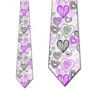 Doodles - Purple Hearts (White) Necktie
