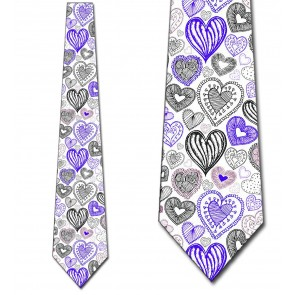 Doodles - Dark Purple Hearts (White) Necktie