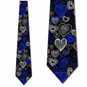 Doodles - Blue Hearts (Black) Necktie