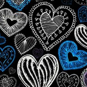 Doodles - Light Blue Hearts (Black) Necktie