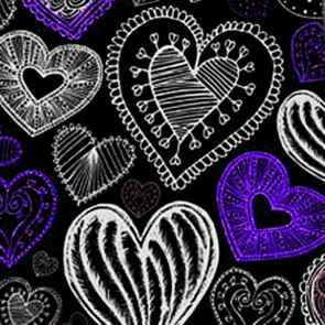 Doodles - Purple Hearts (Black) Necktie