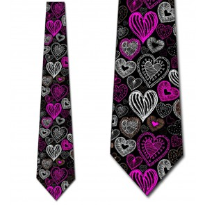 Doodles - Pink Hearts (Black) Necktie
