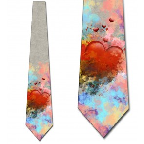 Watercolor Heart Necktie