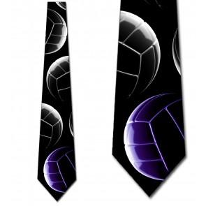 High Contrast Volleyball Stacked - (Purple) Necktie