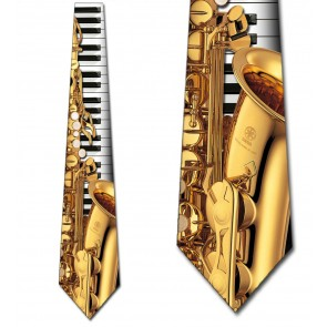 Jazz Instruments - Saxophone and Piano Necktie