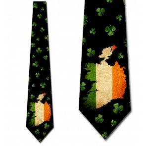 Ireland - Flag and Shamrocks Necktie