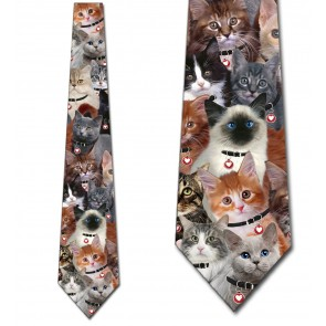 Valentine's Day Cat Collage Necktie