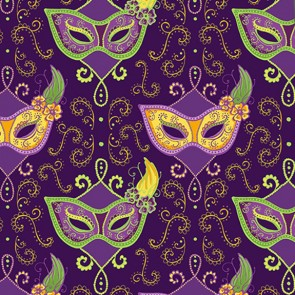 Mardi Gras Mask Pattern - Purple Necktie